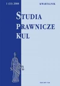 Studia prawnicze KUL, 1(33)/2008 - okładka książki