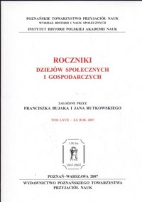 Roczniki dziejów społecznych i gospodarczych - okładka książki