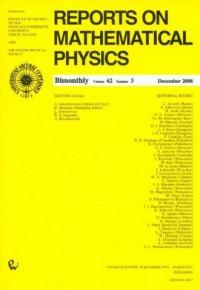 Reports on Mathematical Physics 62/3 2008 - okładka książki