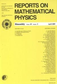 Reports on Mathematical Physics 63/2 2009 - okładka książki