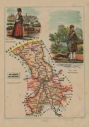 Powiat Ostrołęcki - mapa szczegółowa - zdjęcie reprintu, mapy