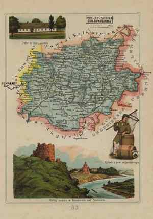 Powiat Sejneński - mapa szczegółowa - zdjęcie reprintu, mapy