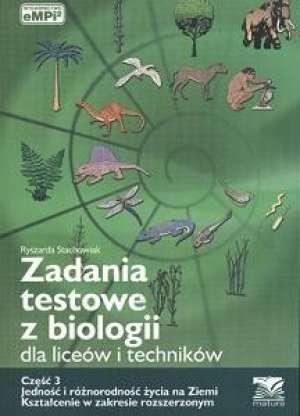 Zadania testowe z biologii dla - okładka podręcznika