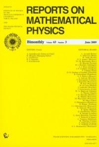 Reports on Mathematical Physics 63/3 2009 - okładka książki