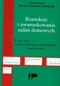 Konteksty i uwarunkowania zadań domowych - okładka książki