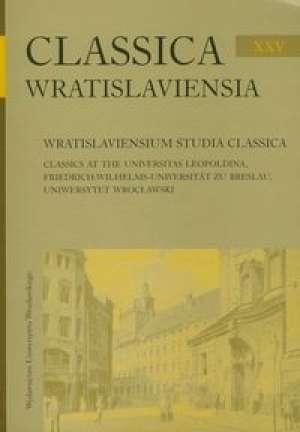 Classica Wratislaviensia XXV. Wratislaviensium - okładka książki