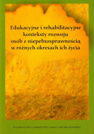 Edukacyjne i rehabilitacyjne konteksty - okładka książki
