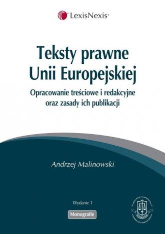 Teksty prawne Unii Europejskiej - okładka książki