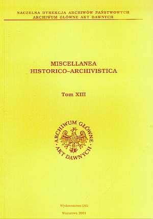 Miscellanea Historico-Archivistica, - okładka książki