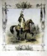 Oficer gwardii napoleońskiej na koniu. Plakat - zdjęcie reprodukcji, plakatu