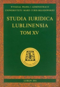 Studia Iuridica Lublinensia. Tom XV - okładka książki