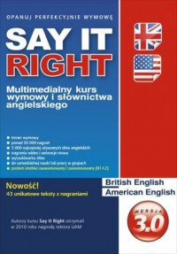 Say It Right. Multimedialny kurs wymowy i słownictwa angielskiego. Wersja 3.0 (DVD) - pudełko audiobooku