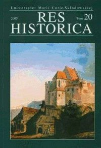 Res Historica. Tom 20 (2005) - okładka książki