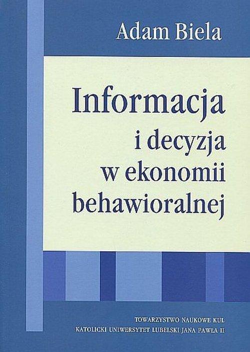 Informacja i decyzjaw ekonomii - okładka książki