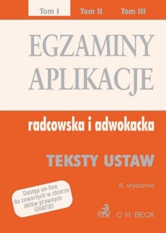 Egzaminy aplikacje radcowska i - okładka książki