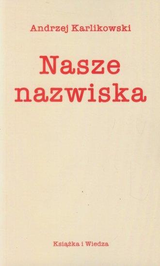 Nasze nazwiska - okładka książki