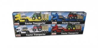 Samochód ciężarowy Scania z traktorem - zdjęcie zabawki, gry
