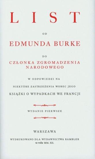 List od Edmunda Burke do członka - okładka książki