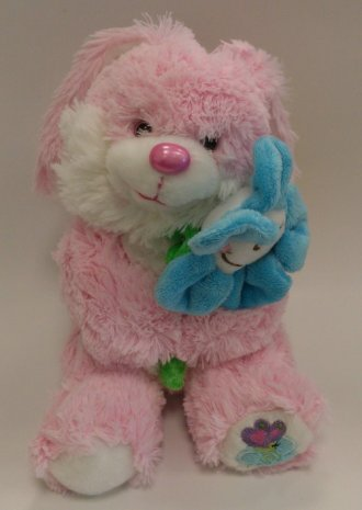 Króliczek z kwiatkiem (20 cm różowy) - zdjęcie zabawki, gry