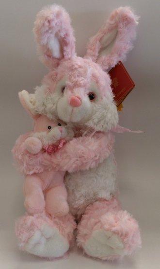 Króliczek z maleństwem (25 cm różowy) - zdjęcie zabawki, gry