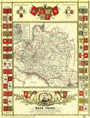 Mapa Polski za panowania króla Jana Sobieskiego wydana w dwóchsetną rocznicę odsieczy Wiednia przez J. Szpetkowskiego w Poznaniu (w tubie)