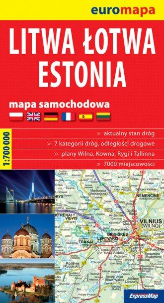 Litwa, �otwa, Estonia papierowa mapa samochodowa (skala 1: 700 000)
