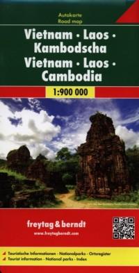Wietnam. Laos. Kambodża mapa (skala - okładka książki
