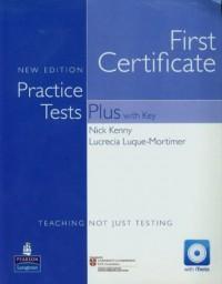 First Certificate. Practice Tests Plus with Key Teaching not just testing (+ CD) - okładka podręcznika