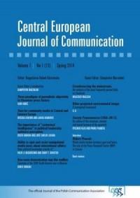 Central European Journal of Communication - okładka książki