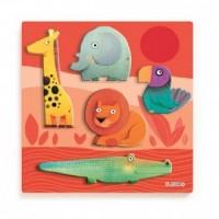 Zwierzęta z dżungli (puzzle drewniane z uchwytami) - zdjęcie zabawki, gry