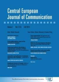 Central European Journal of Communication vol. 7, No 2 (13), Fall 2014 - okładka książki