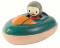 Drewniana motorówka. Zabawka do kąpieli - zdjęcie zabawki, gry