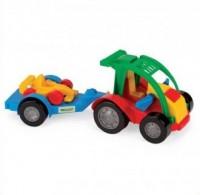 Auto z przyczepą i autkiem - zdjęcie zabawki, gry