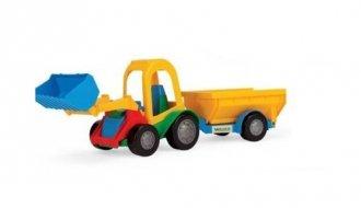 Traktor z łyżką i przyczepą towarową - zdjęcie zabawki, gry