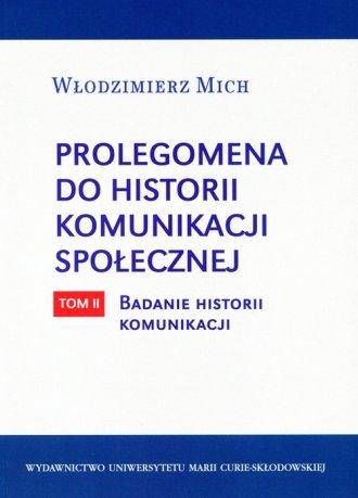 Prolegomena do historii komunikacji - okładka książki
