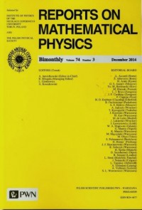 Reports on Mathematical Physics 74/3 2014 - okładka książki