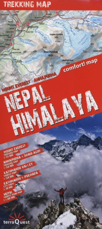 Nepal, Himalaya trekking map (skala - okładka książki