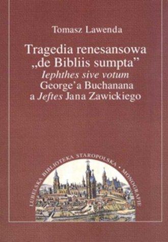 Tragedia renesansowa de Bibliis - okładka książki