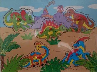 Dinozaury. Układanka drewniana - zdjęcie zabawki, gry