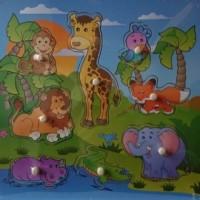 Dzikie zwierzęta. Układanka drewniana - zdjęcie zabawki, gry