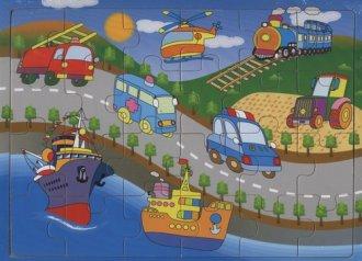 Pojazdy. Układanka drewniana - zdjęcie zabawki, gry