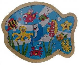 Zwierzęta morskie. Układanka drewniana - zdjęcie zabawki, gry