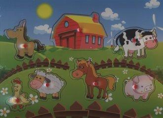 Zwierzęta wiejskie. Układanka drewniana - zdjęcie zabawki, gry