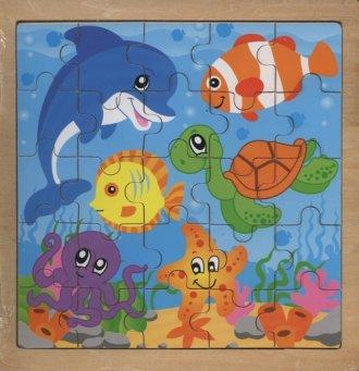 Zwierzęta wodne. Układanka drewniana - zdjęcie zabawki, gry