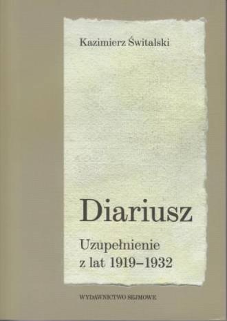 Diariusz. Uzupełnienie z lat 1919-1932 - okładka książki