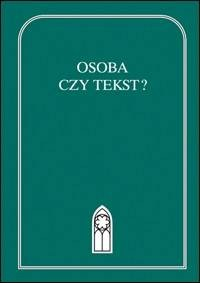 Osoba czy tekst? - okładka książki