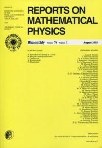 Reports on Mathematical Physics 76/1 2015 Pergamon - okładka książki