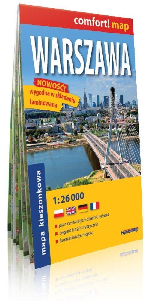 Warszawa laminowany plan miasta - okładka książki