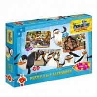 Pingwiny z Madagaskaru (puzzle 3 w 1) - zdjęcie zabawki, gry