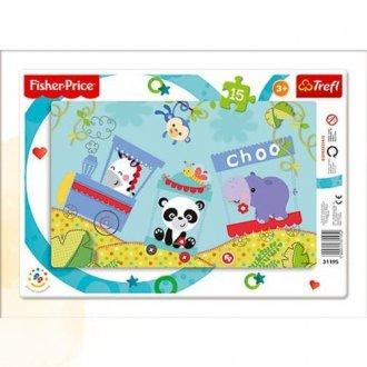 Wesoły pociąg (puzzle ramkowe 15-elem.) - zdjęcie zabawki, gry